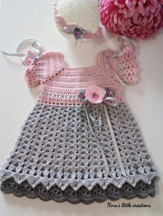 Vestito Neonata Alluncinetto Baby Crochet Dress Ninas Little
