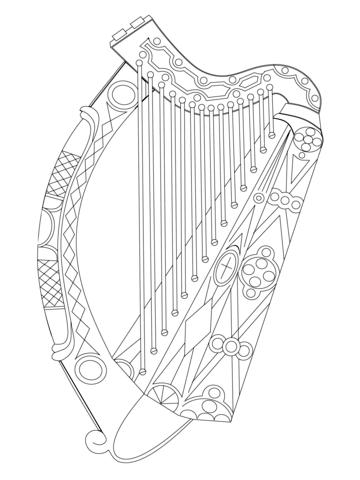 Irish Harp Coloring page things