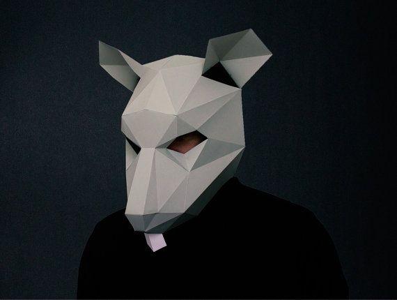 Make Your Own Rat Mask Animal Instant Pdf Download DIY Halloween Paper Printable 3D Pattern Polygon Masks