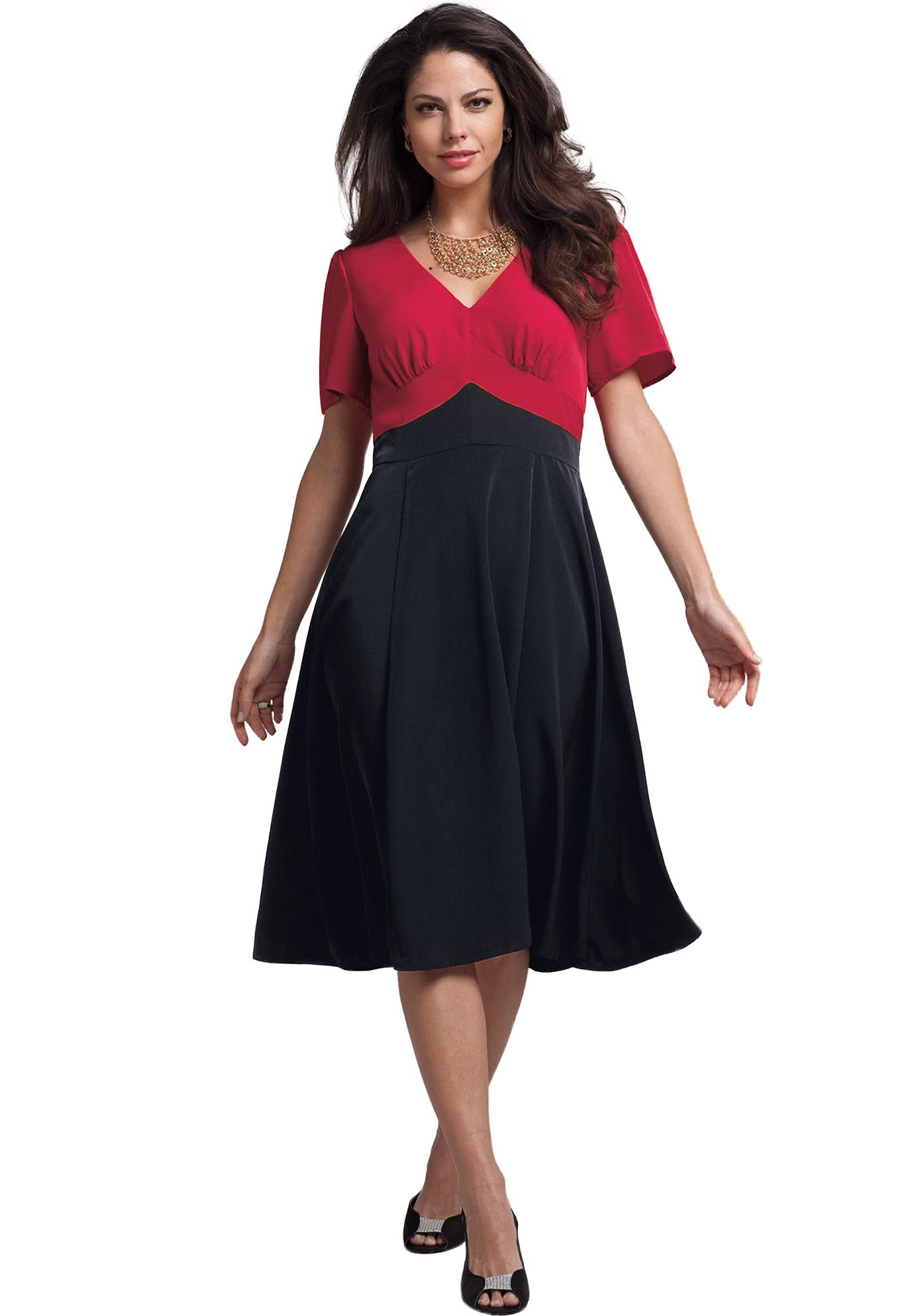 Colorblock Empire Waist Dress Plus Size Top 100 Best Sellers
