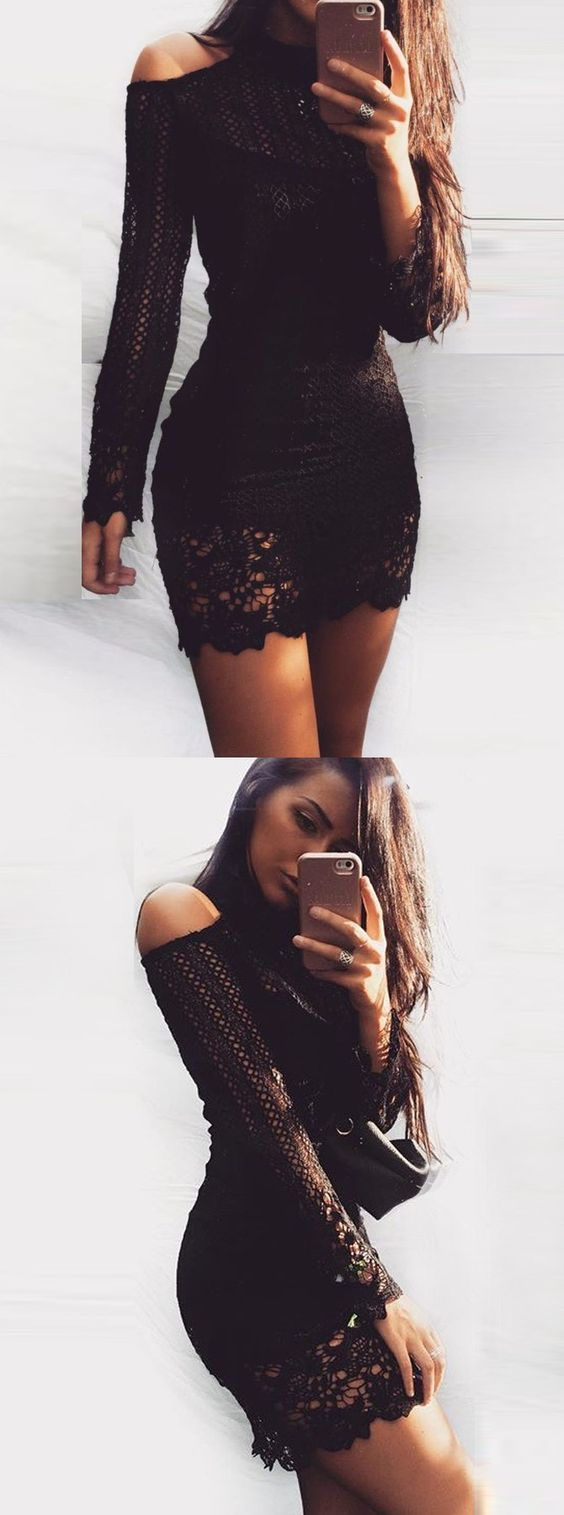 Bodycon high neck long sleeves lace little black dress teens