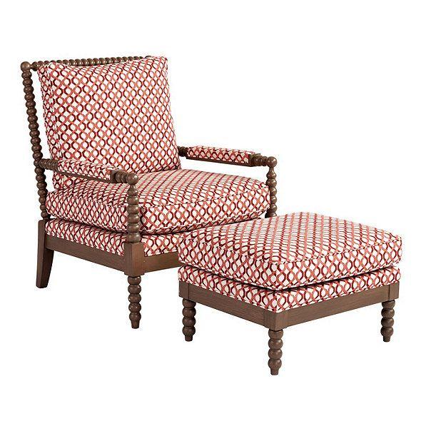 Shiloh Spool Chair & Ottoman In Fairhope Red