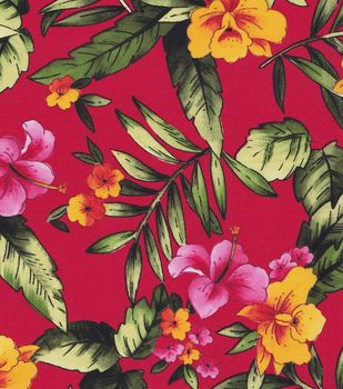 Tropical Fabric- Tropical Floral On Red Shirting Fabric
