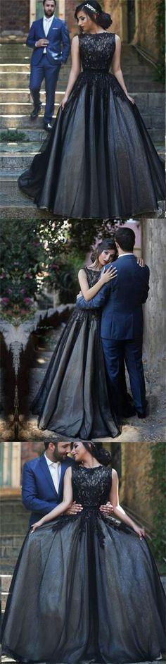 b8d90ab15f Elegant Bateau Sleeveless Black Evening Dress with Appliques Long ...