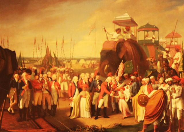 The reception of the Mysorean hostage princes by Marquis Cornwallis, Oil on Canvas painted by Robert Home,