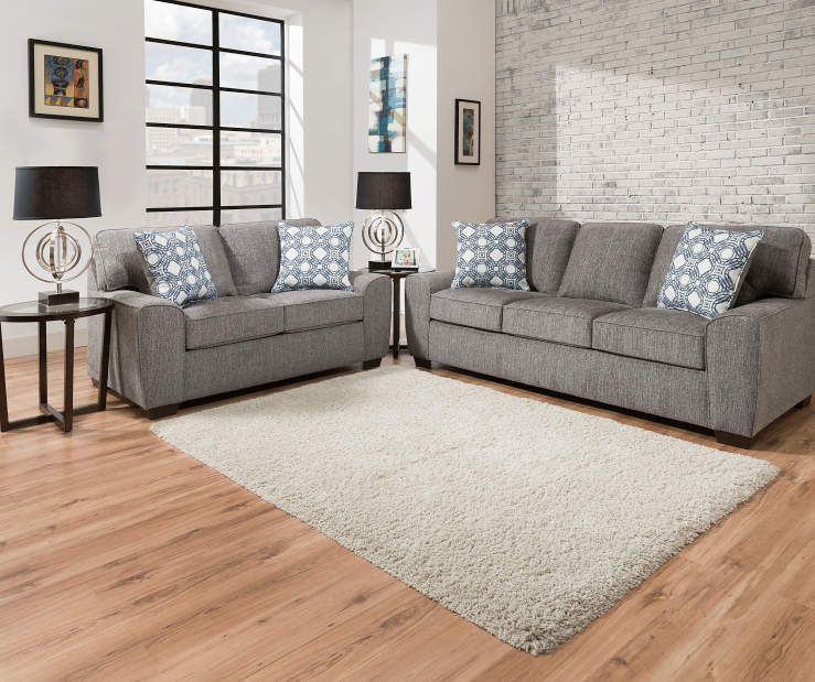 Redding Gray Chenille Sofa With Pillows Big Lots Living Room Grey Big Lots Furniture Living Room Collections