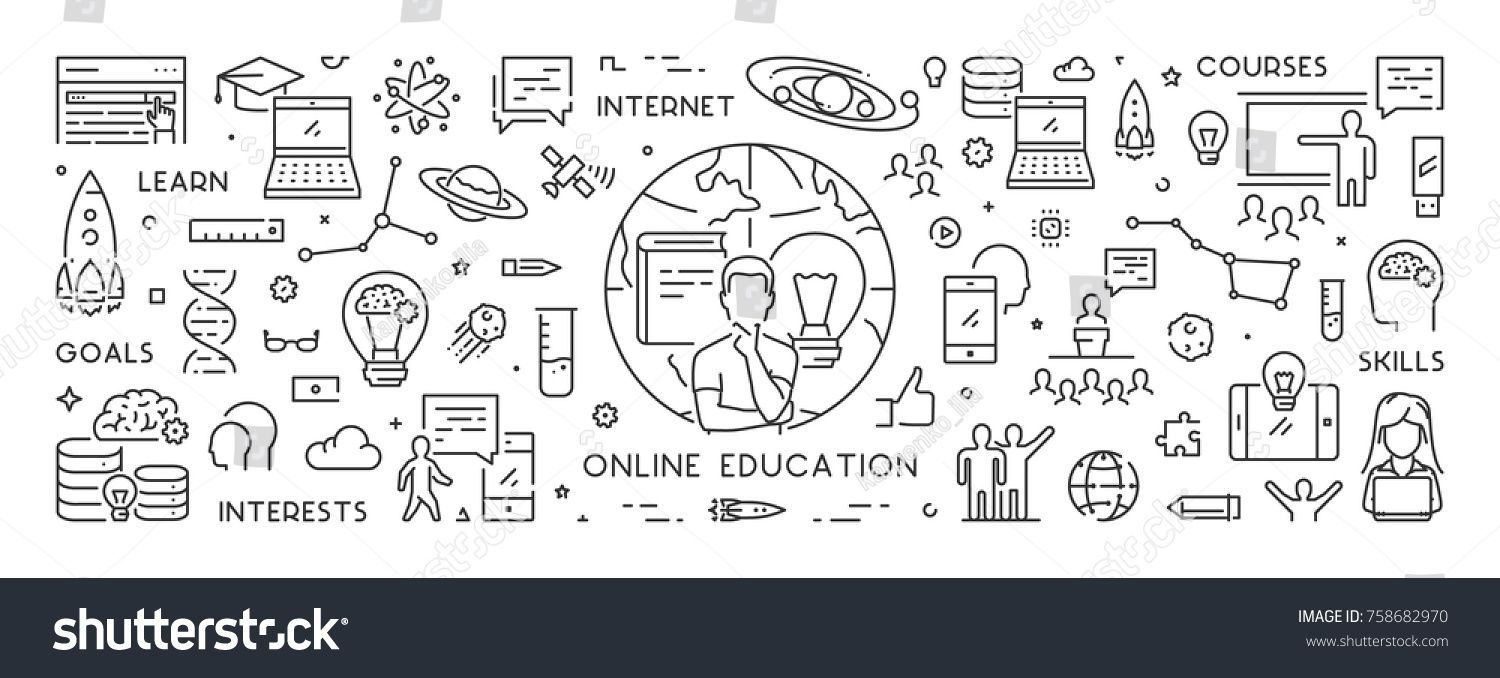 Vector Line Banner Online Education Linear Royalty Free Image