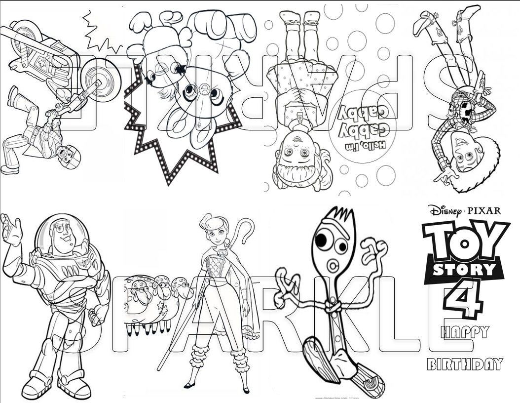 Toy Story 4 Mini Coloring Book Goodie Bag Favor Party Bag Favor Coloring Page Birthday Party Favor Digital Coloring Books Toy Story Party Gumball Party