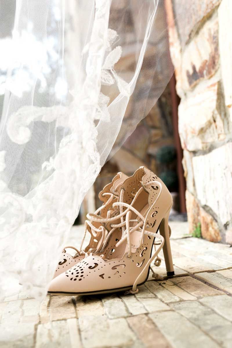 Lace Up Wedding Shoes Elegant Outdoor Estate House Photographer So Photography