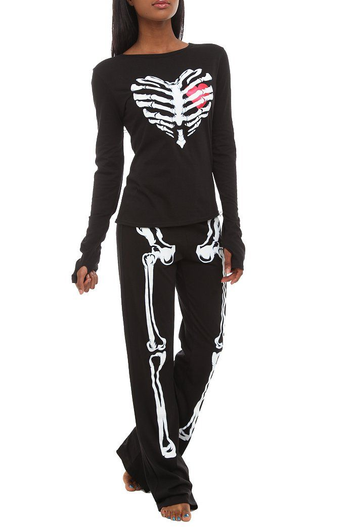 Skeleton Heart Glow-In-The-Dark Jersey Pajama Set