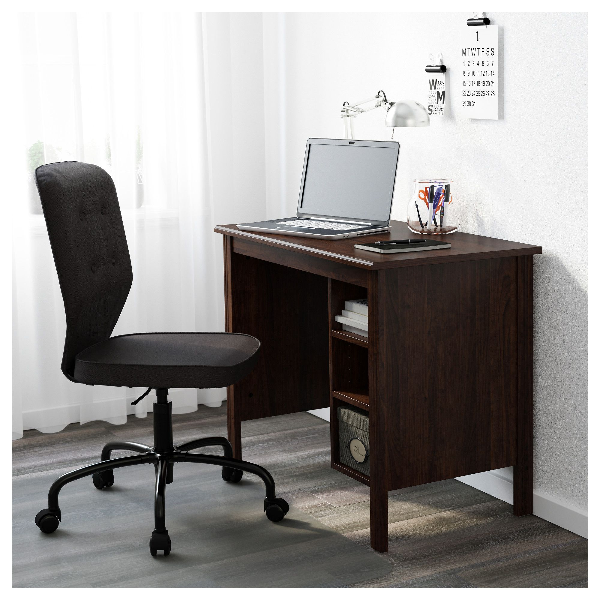 Ikea Brusali Brown Desk Small Home Offices Home Office Design
