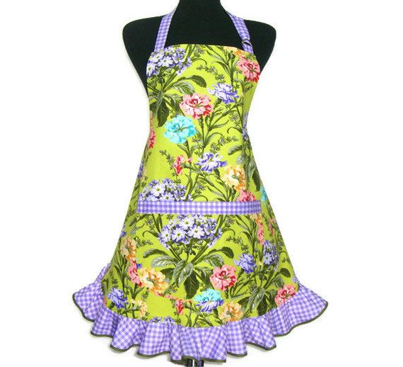 Retro Kitchen Apron Carnations on Green Hostess by ElsiesFlat, $34.00