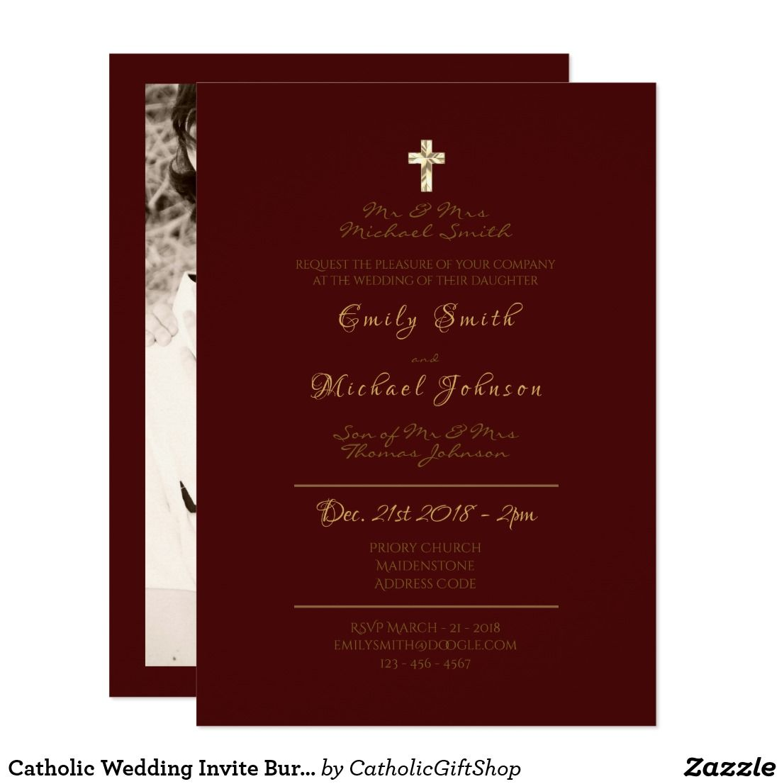 Catholic Wedding Invite Burgundy Gold Formal