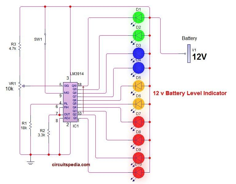 12 Volt Battery Level Indicator Circuit Diagram Circuit Diagram Battery Charger Circuit Automatic Battery Charger
