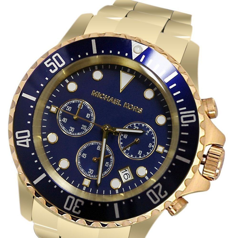 84648b060740 MICHAEL KORS Everest Chrono NAVY Dial GOLD-Tone Mens Watch MK8267  250 NWT  NIB  MichaelKors  Casual