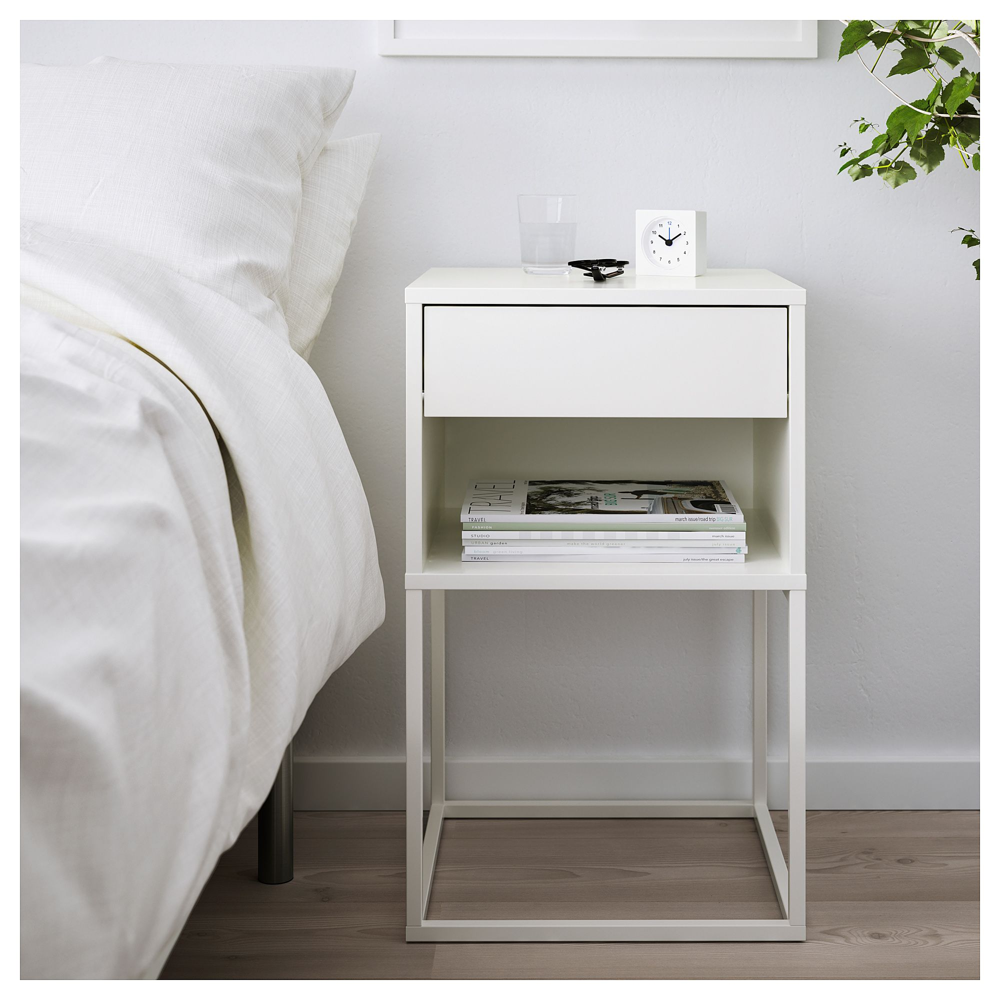 Vikhammer Noshno Shkafche Byalo White Bedside Table White Nightstand Bedroom Night Stands