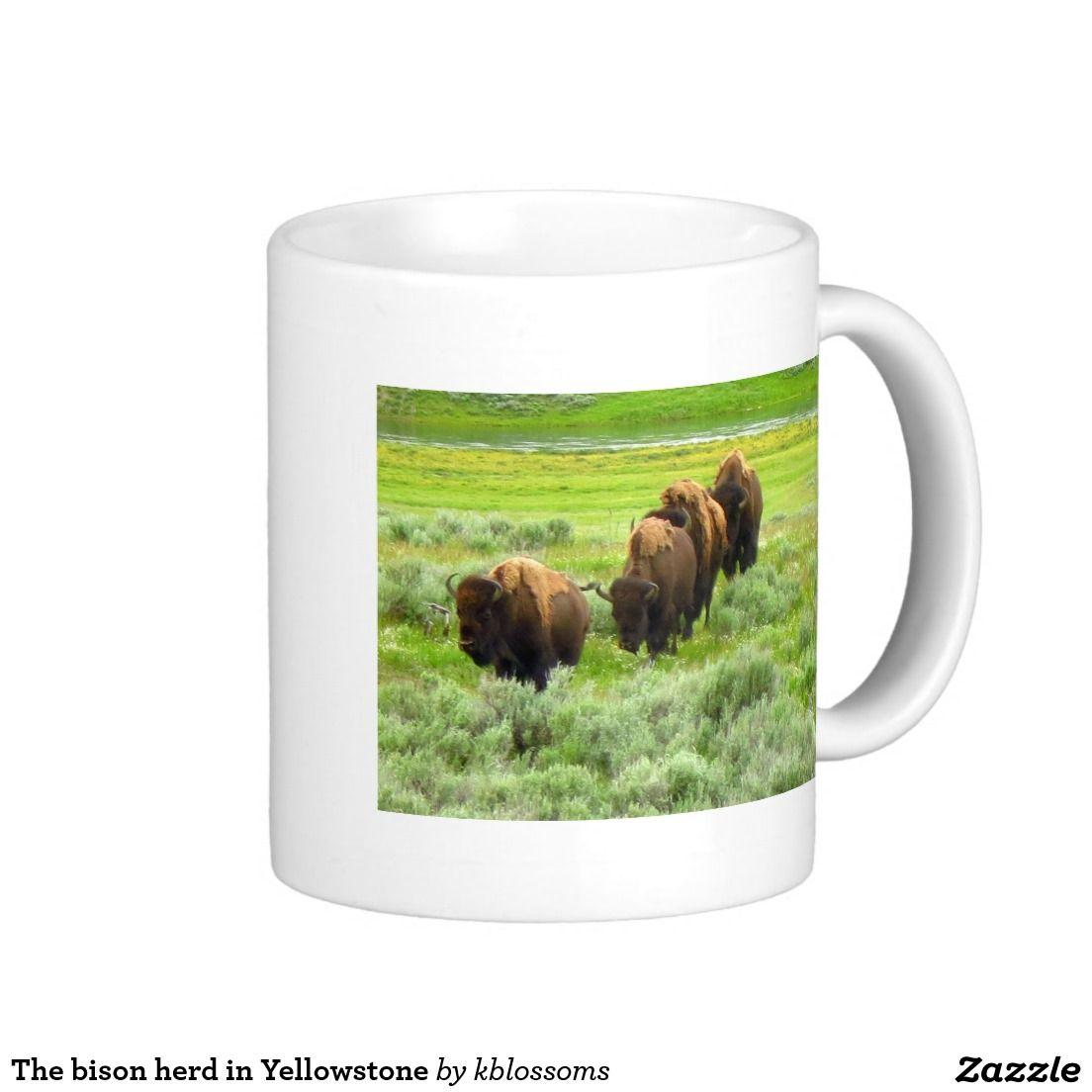 The bison herd in Yellowstone Classic White Coffee Mug