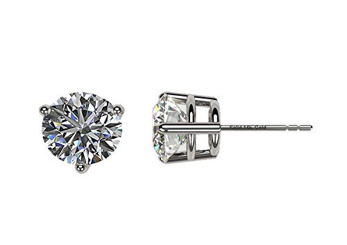 4b478c936 Amazon.com: NANA 14k Gold Post & Sterling Silver 3 Prong CZ Stud Earrings