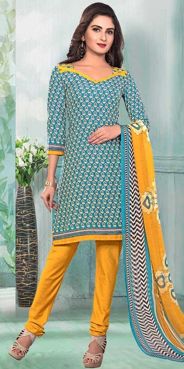 Enamoring Blue Crepe Printed Salwar Suit.