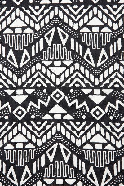Womens Black Sleeveless Aztec Bodycon Dress