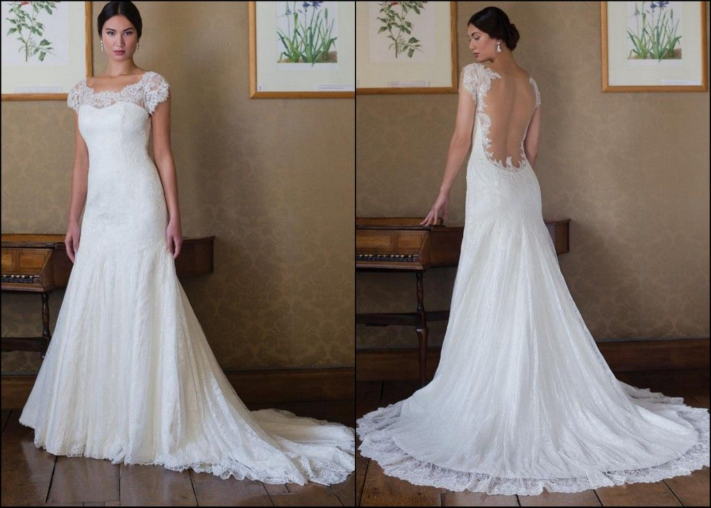 Megan By Augusta Jones An A Line Wedding Gown With A Scalloped