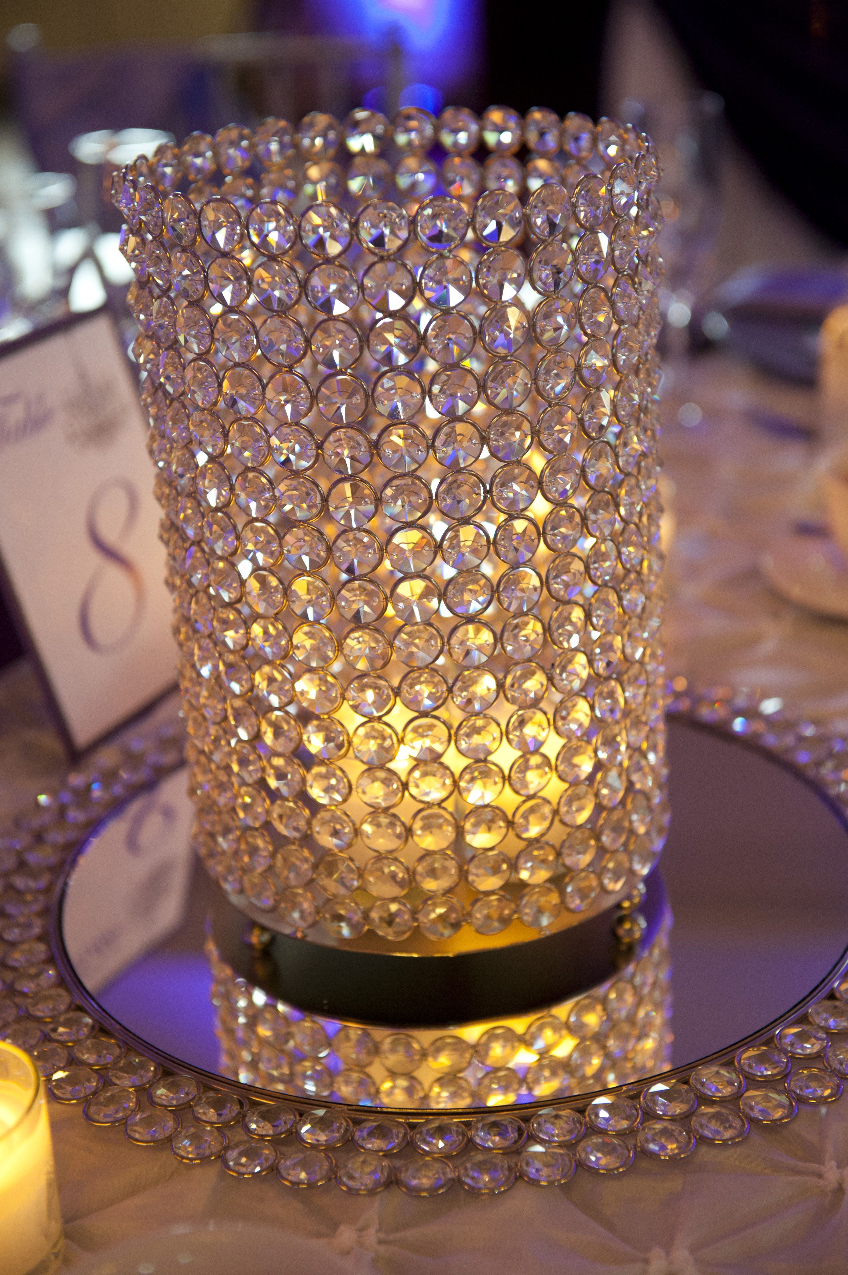 Wedding decorations yellow and gray  Bling votive wedding centerpiece I like the edging around the