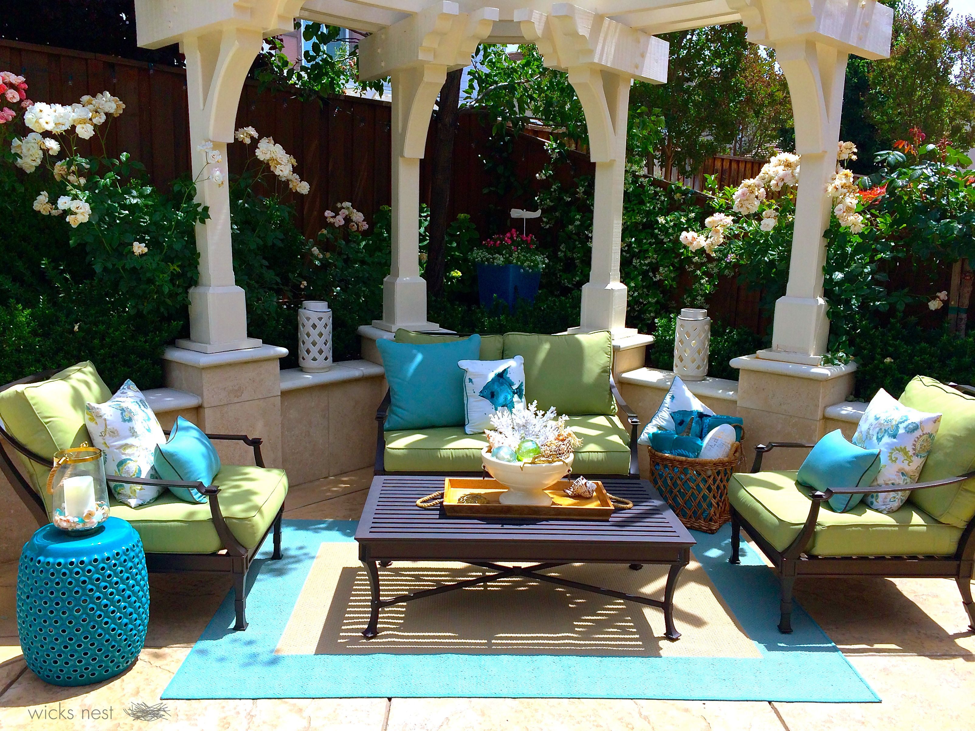 my new backyard summer green and blue oasis from Homegoods Tar