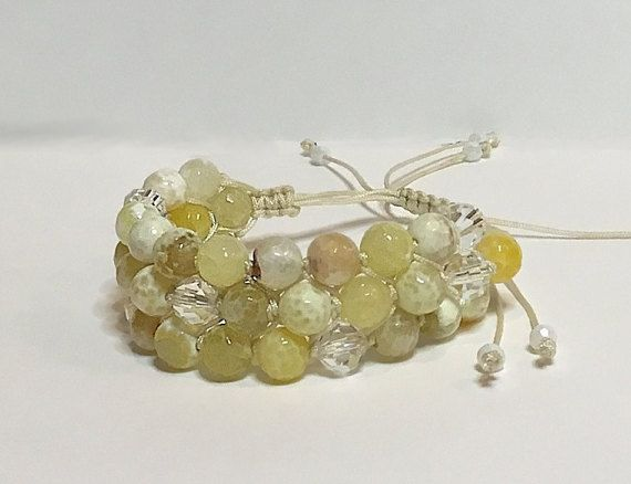 Triple Row Fire Agate and Crystal Beaded Bracelet