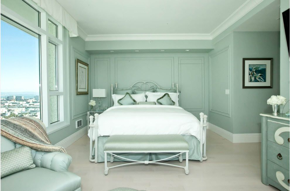 Pistachio Color In The Interior On The Photo Mint Green Bedroom Seafoam Green Bedroom Relaxing Bedroom Colors