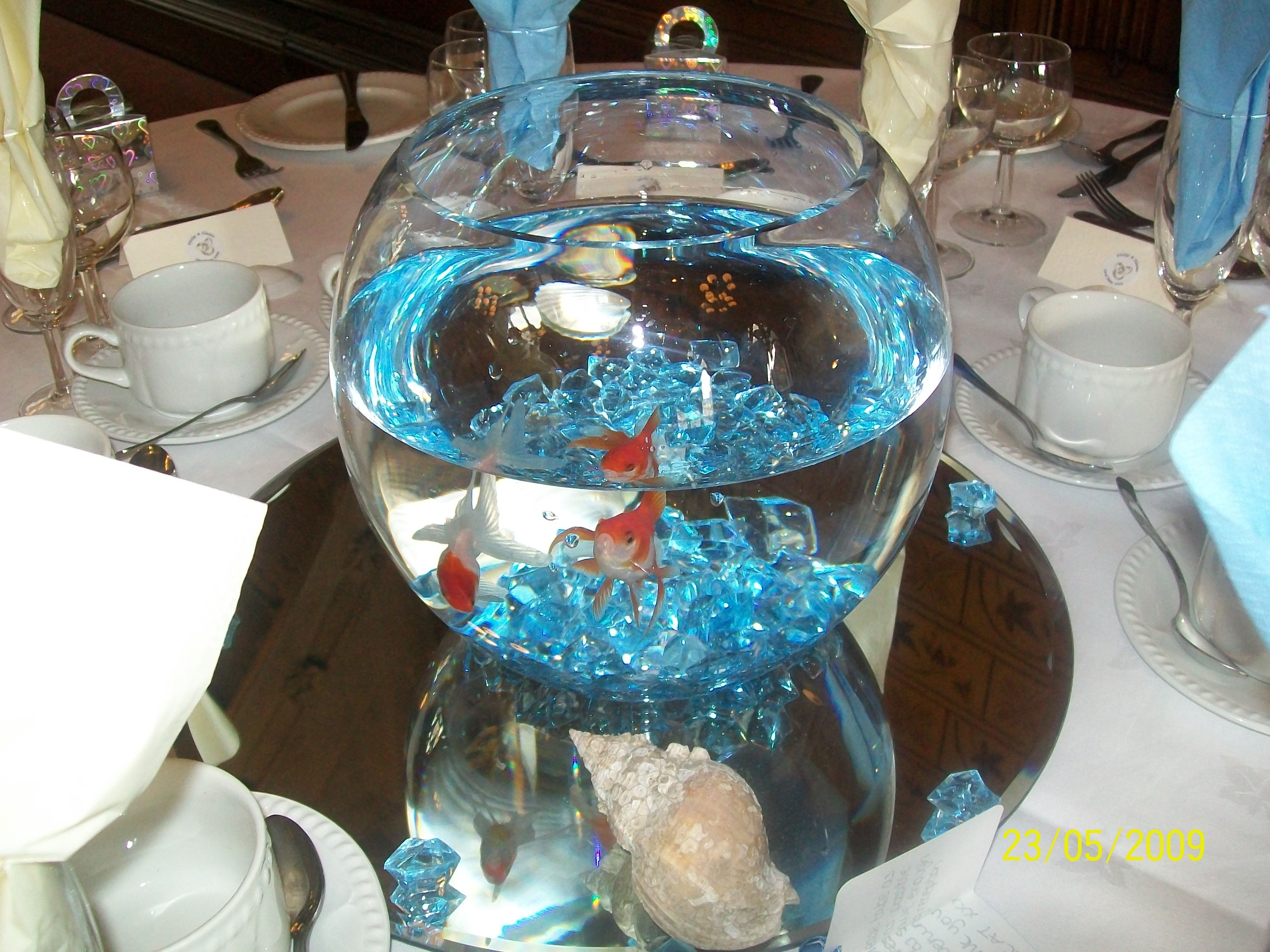 Goldfish centerpiece on mirror with blue rocks yes