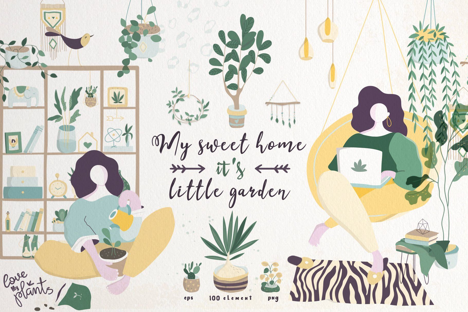 My Sweet Home And Little Garden Creative Illustration