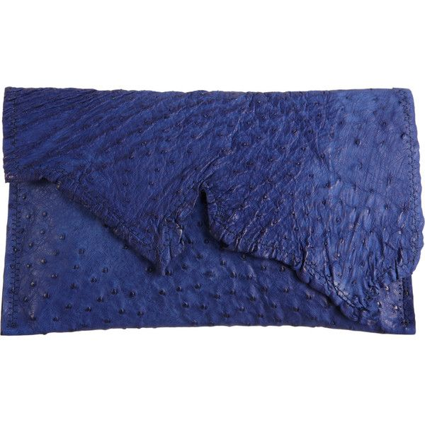 Deborah Barnet Sauvage Ostrich Catch All Clutch found on Polyvore