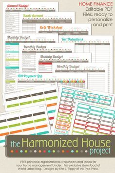 Home Finance Printables: The Harmonized House Project (World label ...