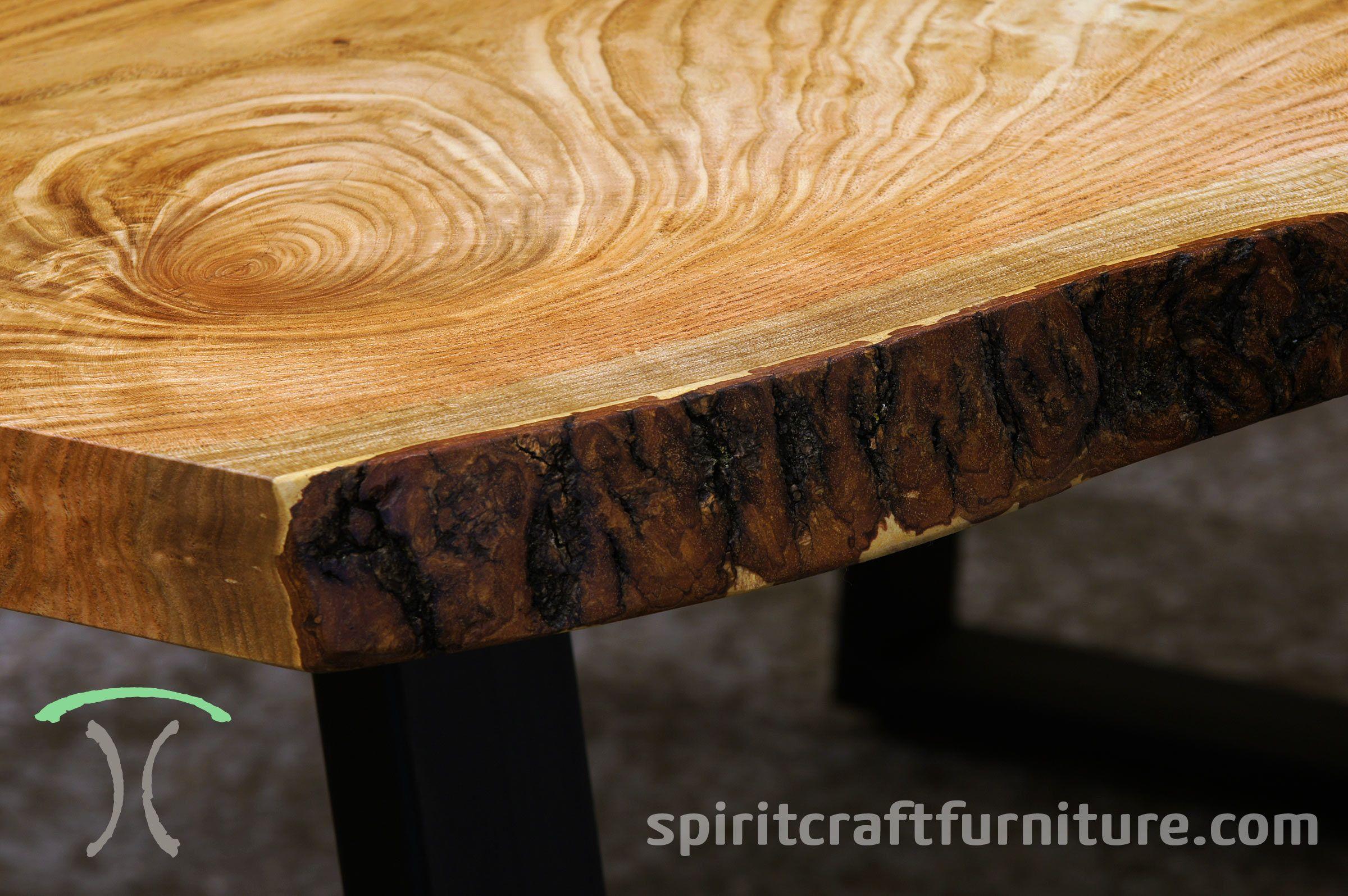 Warm Lighter Wood Tones Honey Locust Live Edge Table With Sanded Bark On Black Steel Legs Slab Table Live Edge Solid Wood Table Tops Live Edge Table