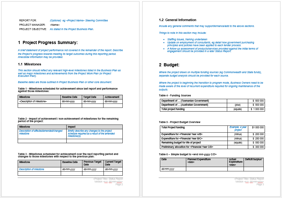 Project Status Report Template  Microsoft Word Templates