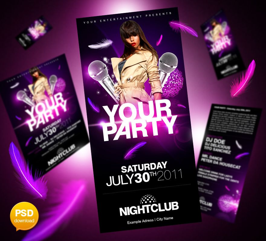 Best Free Psd PartyClub Flyer Templates Download  Print