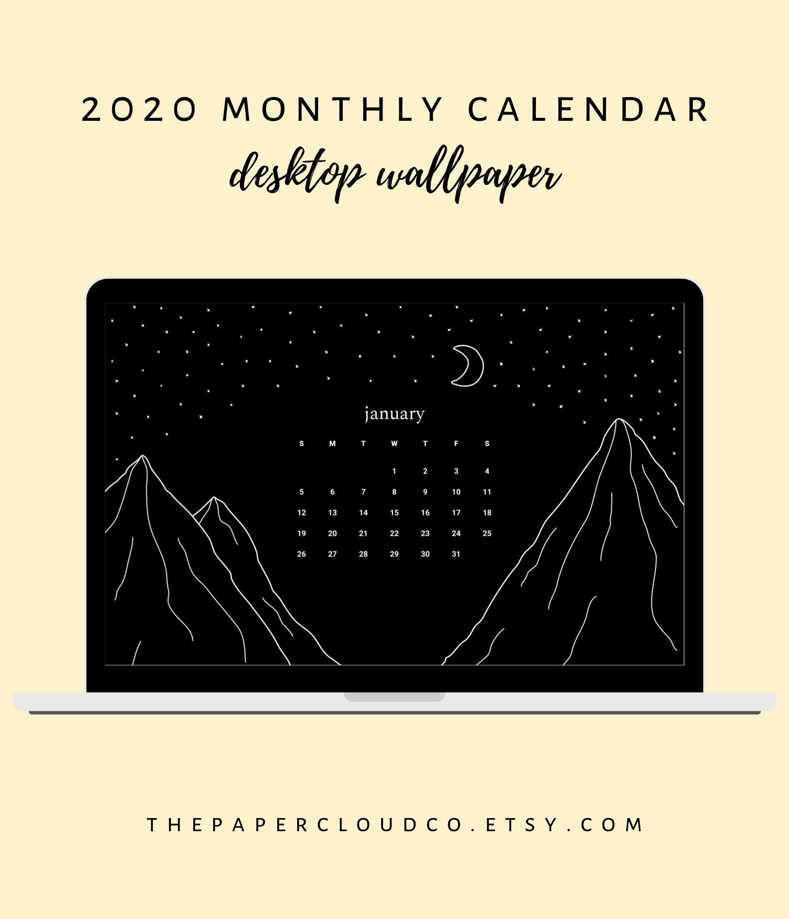 2020 Year And Month Calendar Desktop Wallpaper Background Etsy