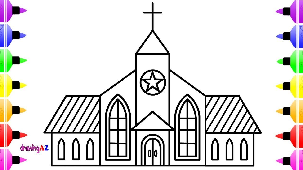 How To Draw Church For Kids Coloring Book For Children
