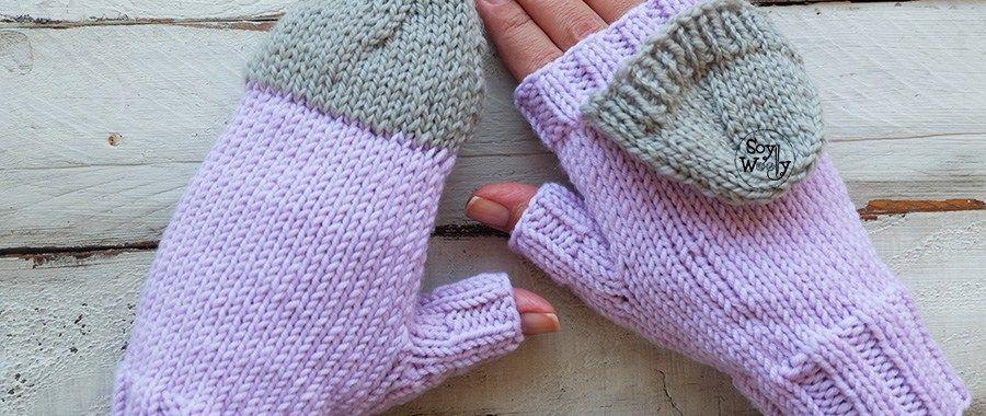 Mitones Convertibles tejidos en dos agujas o palillos | Pinterest ...