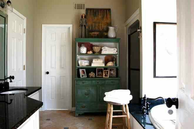 Bathroom -Houzz Love the painted cabinet Rooms Pinterest