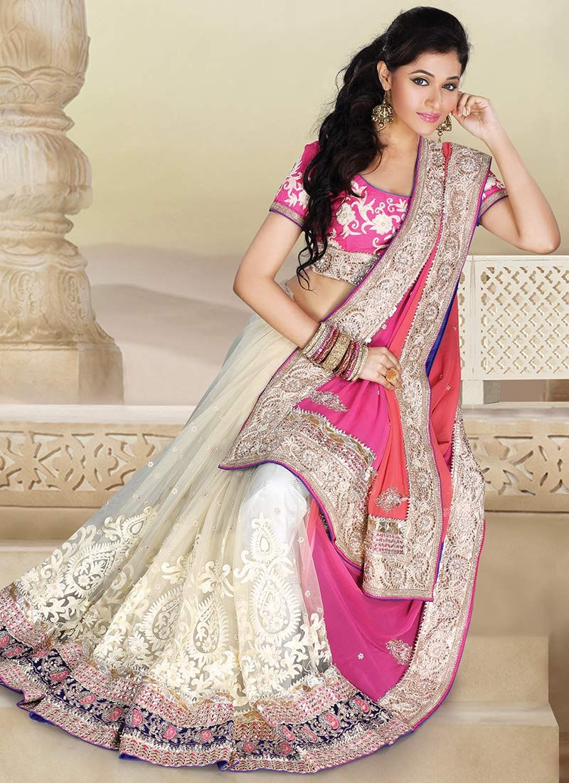 Off White And Pink Half And Half Saree | DesI StufF❤ | Pinterest