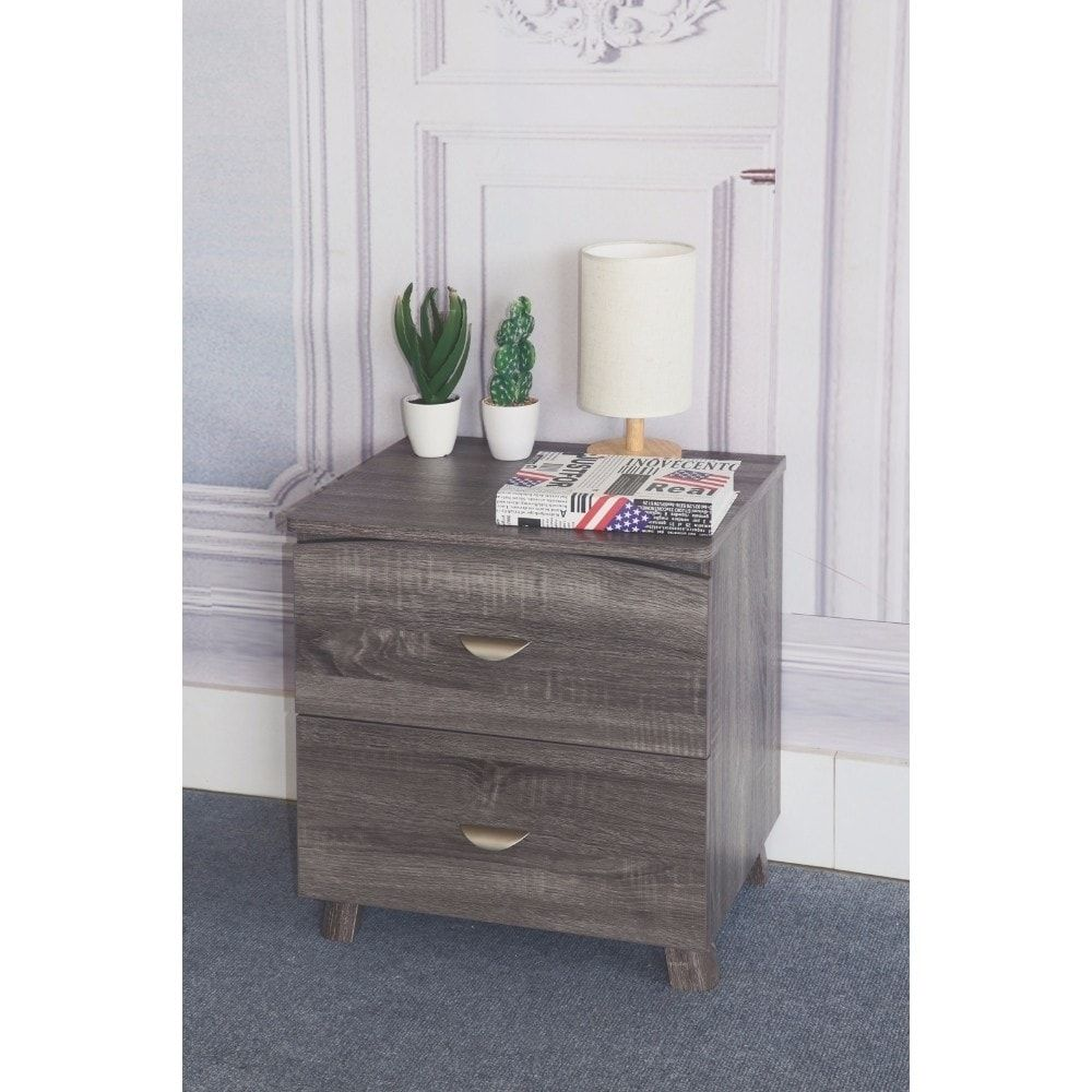 Best Benzara Contemporary Style Grey Finish Nightstand With 2 400 x 300