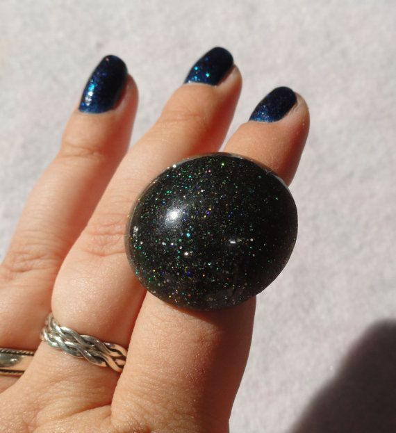 Black Multi glitter Dome Glitter Ring, Kawaii Resin Ring, Spooky ring, Gothic glitter dome ring, Goth sparkle resin, black big ring, lolita