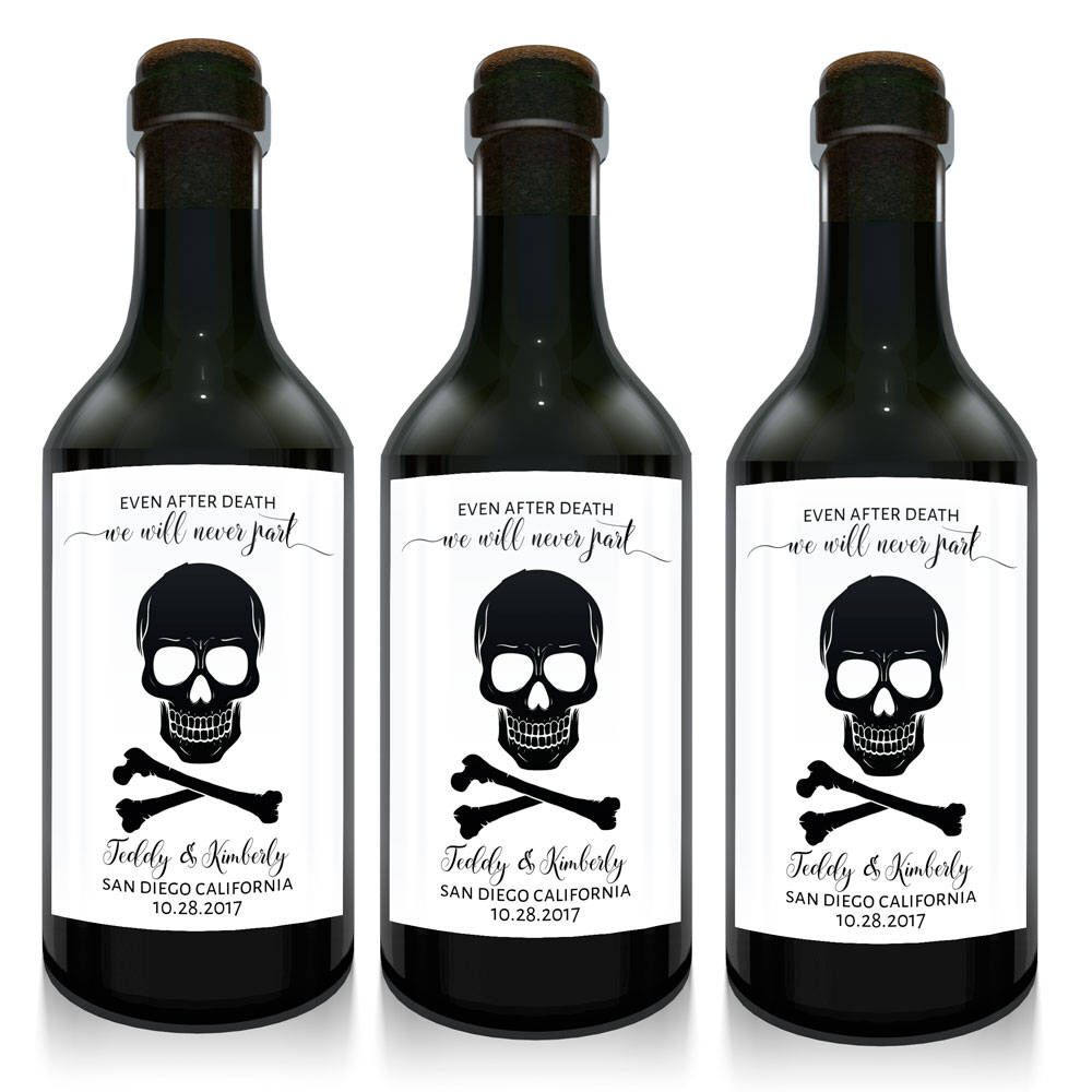 Even after death we\'ll never part mini wine bottle wedding favors ...
