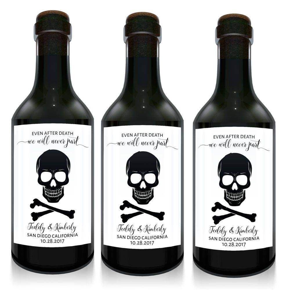 Even after death we\'ll never part mini wine bottle wedding favors ...
