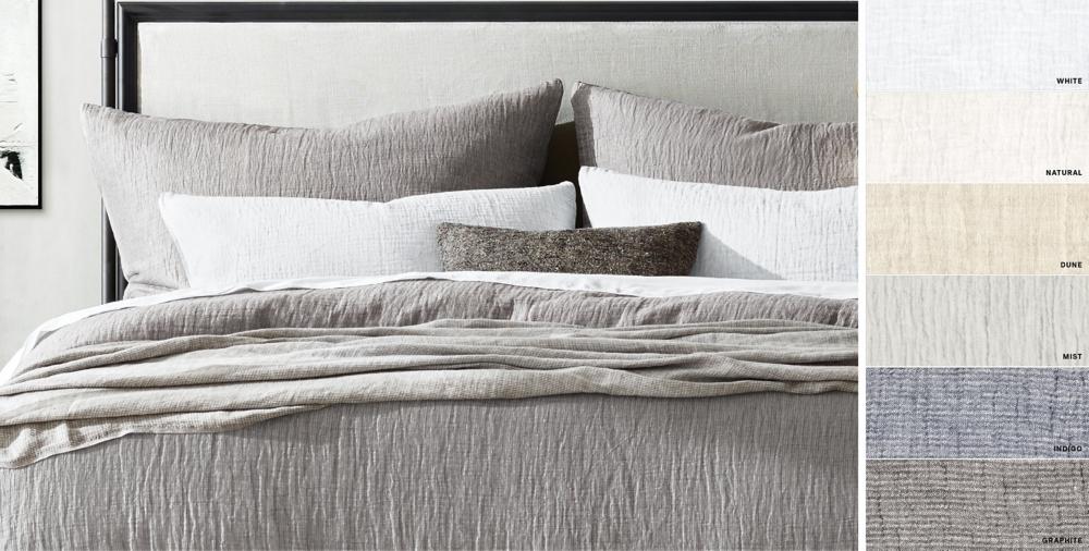 Italian Crinkled Linen Cotton Bedding Collection Rh Linen Bedding Ivory Bedding Belgian Linen Bedding