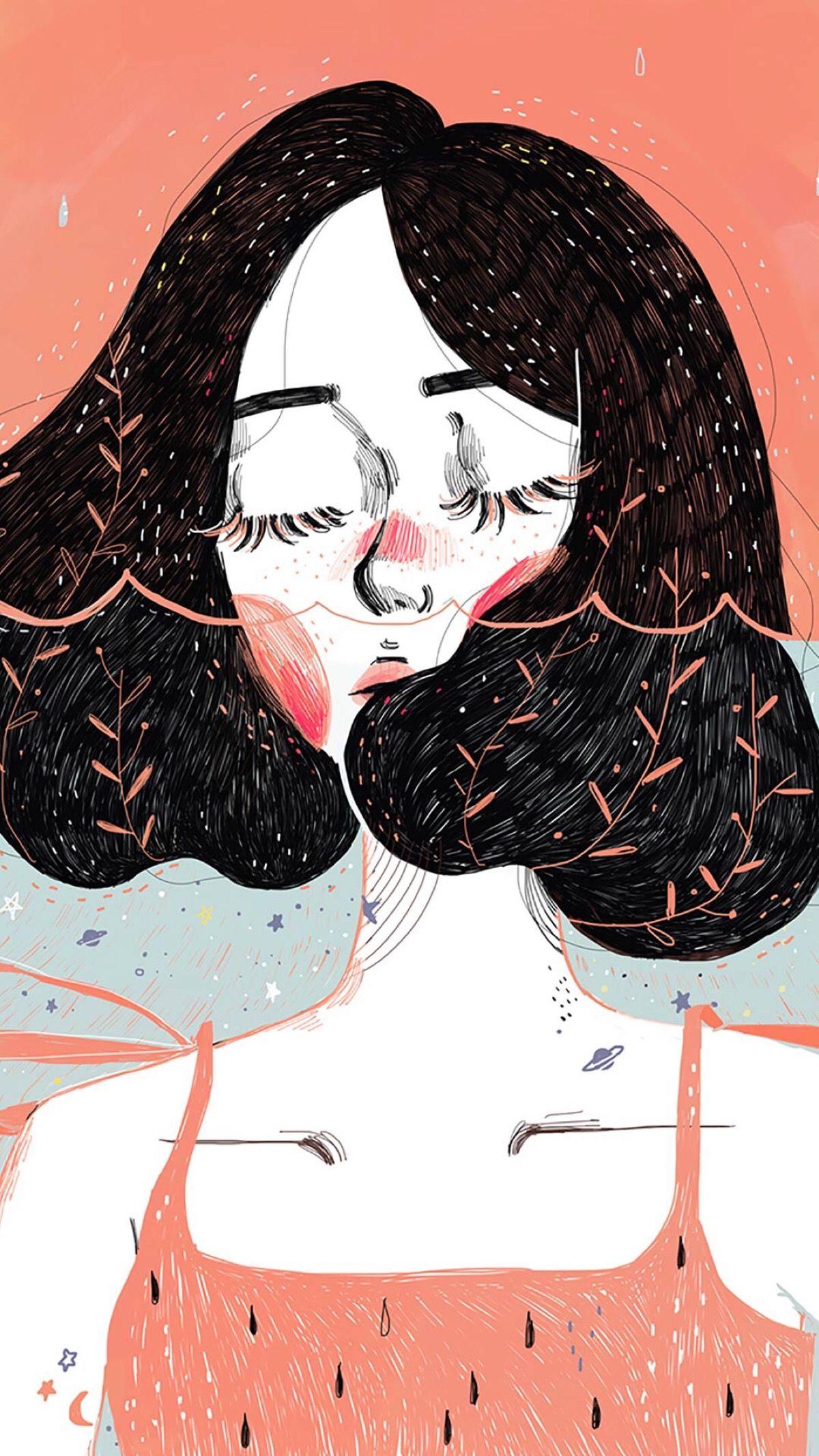 Girl Short Hair Lukisan Seni Ilustrasi Karakter Seni Abstrak