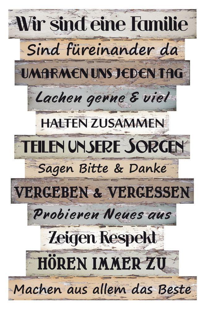 Holz Schild Bild Familie Regeln Vintage Shabby Wandschild