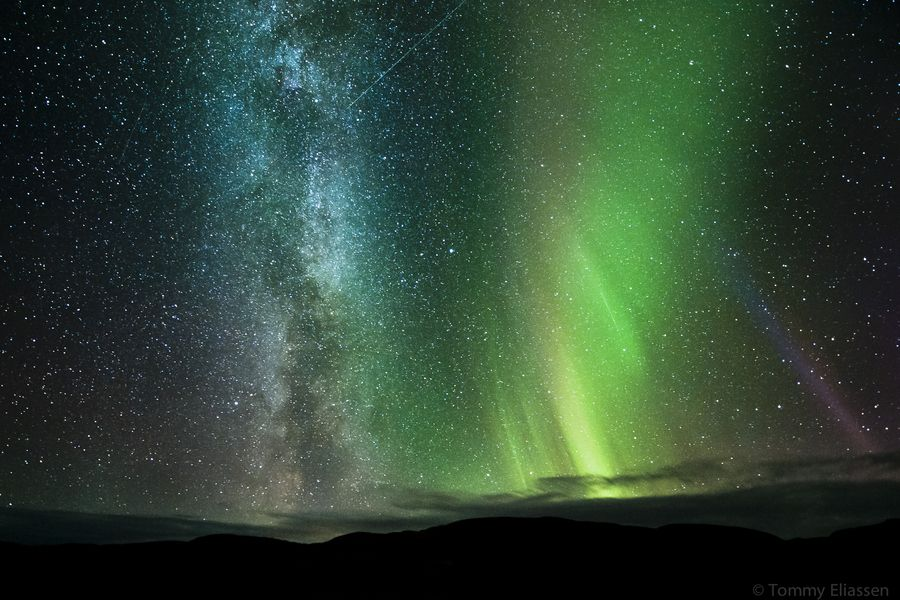 """""""The milky way, northern lights and 3 satellites streaking over the sky in this picture taken in Ifjord, Finnmark, Norway."""" - Tommy Eliassen (via 500px / Photo """"Side by side"""")"""