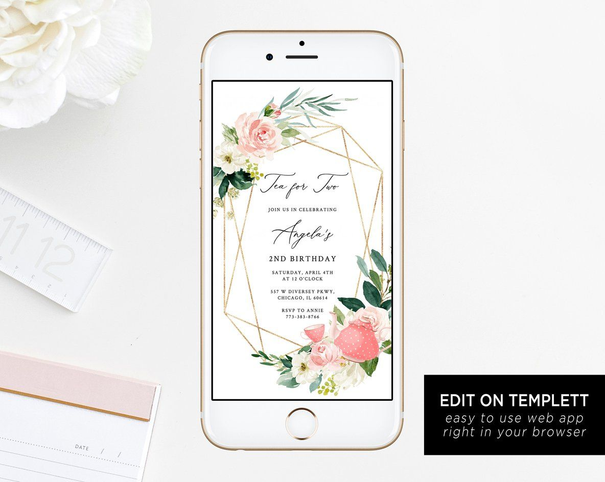 Tea For Two Electronic Invitation Template Party Birthday Mobile Invite Partea Phone Instant Download Templett
